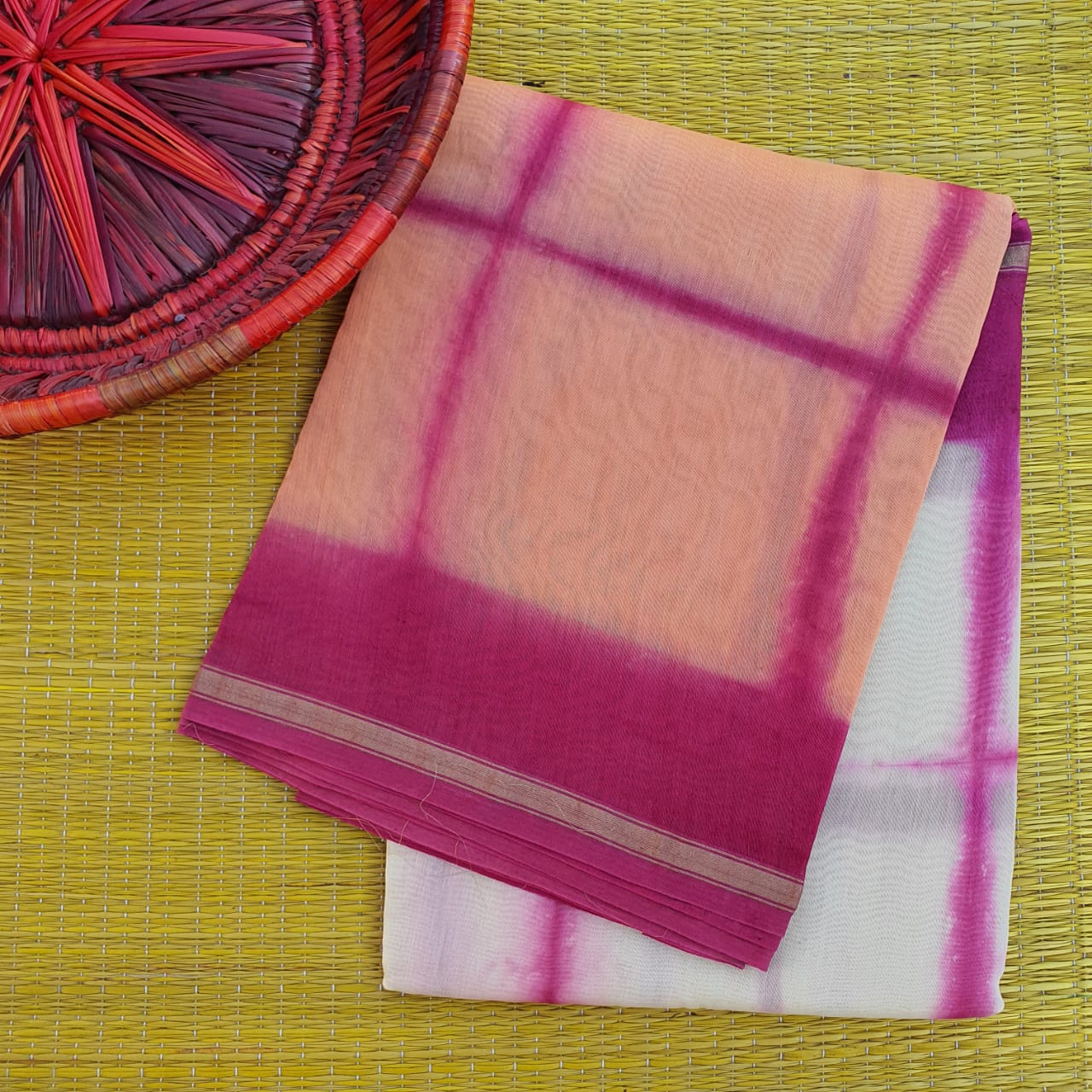 Peach & White Chanderi