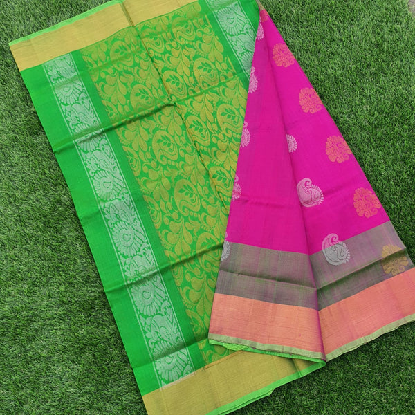 Pink & Green Uppada Silk Saree