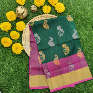 Green & Pink Uppada Silk Saree