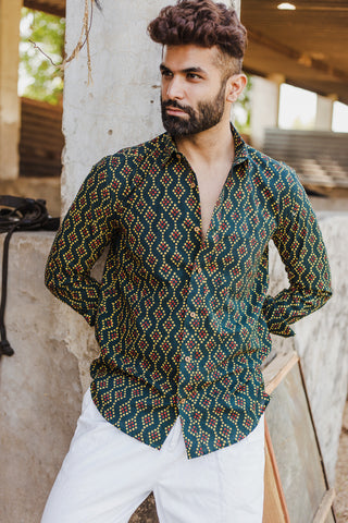 Green Bandhej Print Shirt