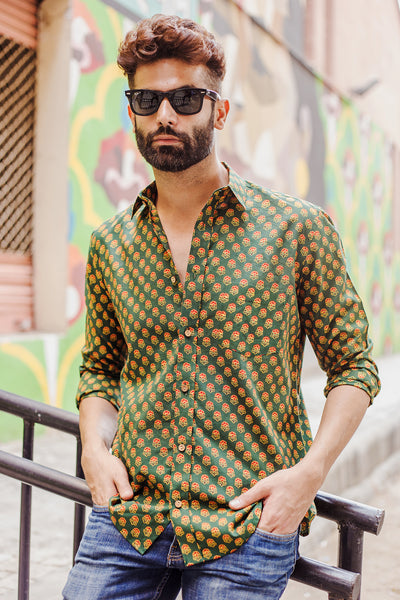 Green Ajrakh Red Rose Shirt