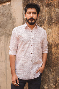 White Camel Blockprint Shirt