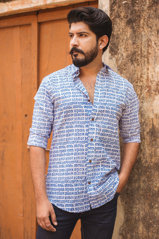 Blue Mantra Print Shirt