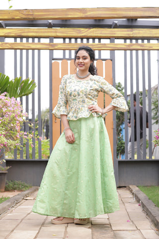 Tussar Green Skirt Set