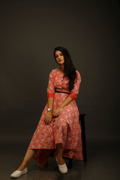 Red Jaipuri Print Assymetric Dress