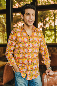 Yellow Floral Print Shirt