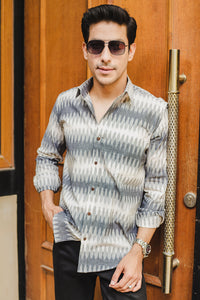 Grey and White Ikat Woven Shirt