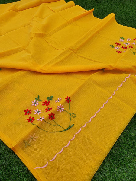 Yellow Floral Embroidered Kota