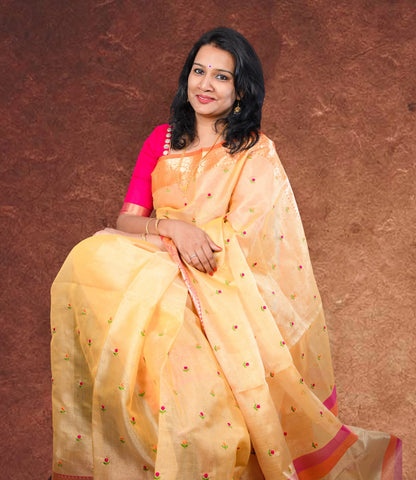 Kota Tissue Silk Saree - Yellow