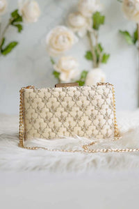Anya Box Clutch -Cream And Light Gold