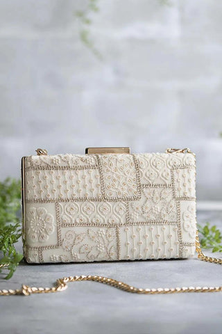Mosaic Luxe Embroidered Clutch - White