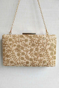 Beige Sequin Embroidered Box Clutch