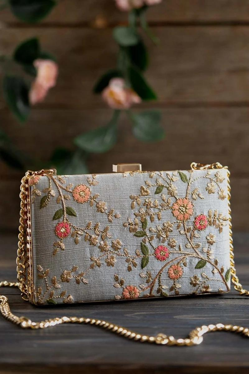 Floral Creeper Box Clutch - Grey