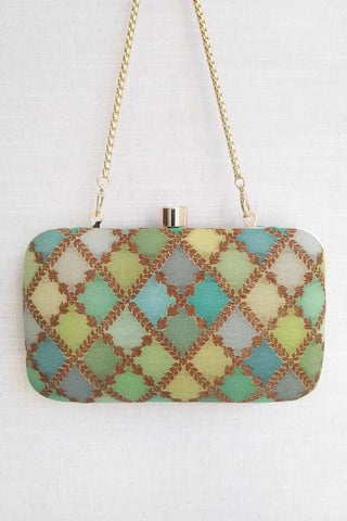 Morocco Shaded Pure Silk Banarasi Clutch - Green
