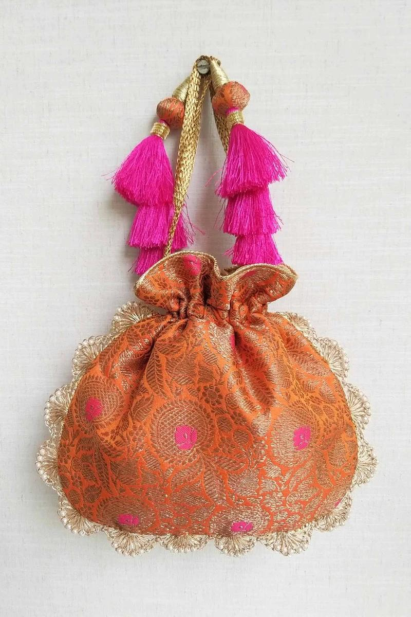 Kashi - Orange Pure Banarasi Silk Potli