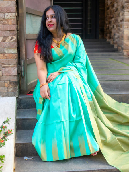 Sea Green Raw Silk Saree