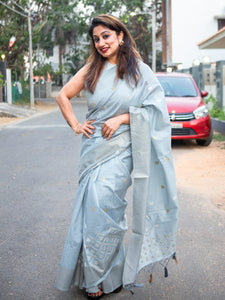 Ice Blue Jute Linen Saree