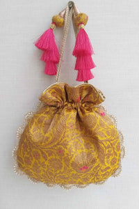 Kashi - Yellow Pure Banarasi Silk Potli Bag