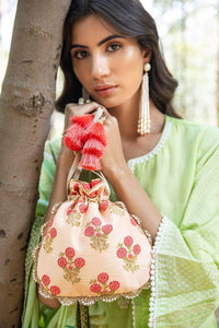 Blush Scallop Potli Bag - Peach And Coral