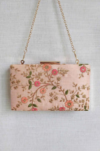 FLORAL CREEPER BOX CLUTCH - PEACH