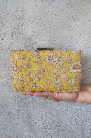 LEYA EMBROIDERED CLUTCH WITH SLING - YELLOW