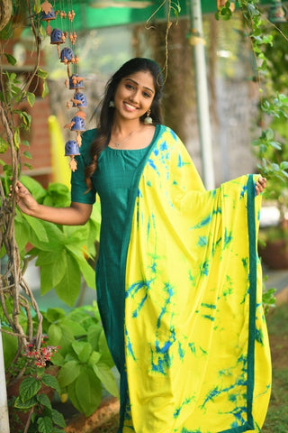 Teal Green Kurthi with yellow shibori dupatta