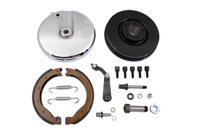Front Brake Drum Backing Plate Kit Polished For Harley-Davidson 1969-1971