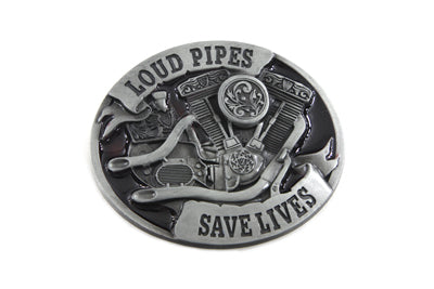 Loud Pipes Save Lives Harley-Davidson Evolution Big Twin Belt Buckle