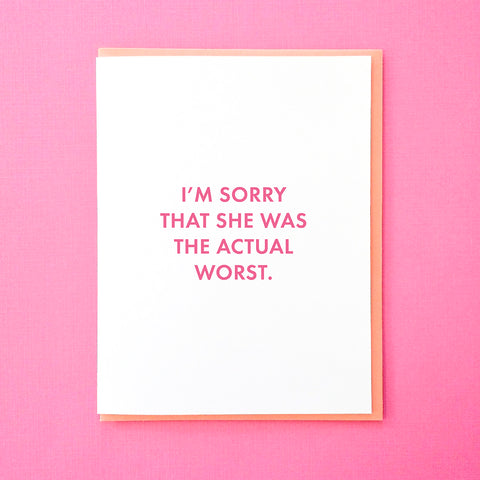 I'm sorry that she was the actual worst. Breakup card for him. Divorce card for him. Breakup card for her. Divorce card for her. Bad news card from Tick Tock Press