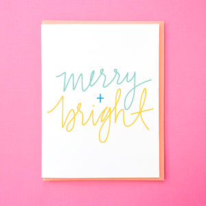 Merry and Bright - Hand Lettered Holiday Greeting Card from Tick Tock Press - Christmas Greeting Card - Hanukkah Greeting Card