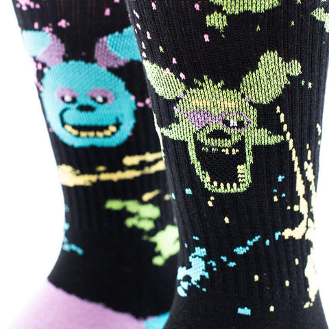 Black Light Splash Knit Socks