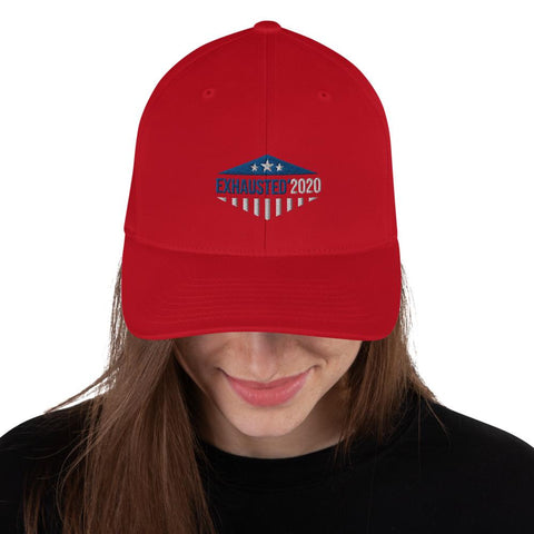 Red Embroidered Exhausted 2020 Flexfit Hat