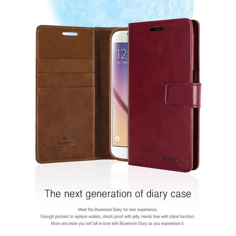 iPhone  Goospery Mercury Blue Moon Diary Wallet case [Drop Protection] - caseoftheday.com.au