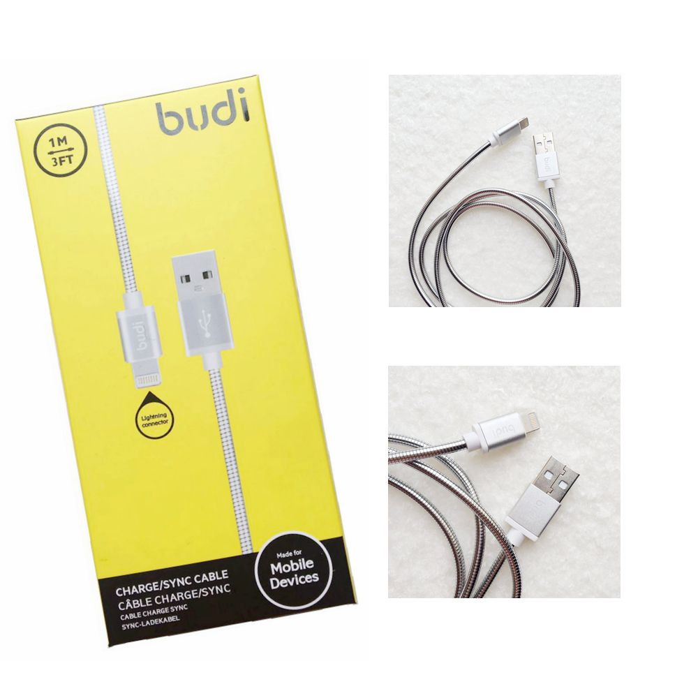 Budi 1m Lightning Usb Charge Sync Metal Cable Shell For Goospery Iphone 5 Style Lux Jelly Case Black Ipad