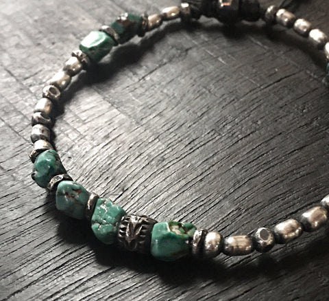 Turquoise Silver Gypsy Bead Layering Bracelet