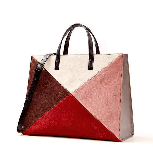 Panelled Suede Leather Tote