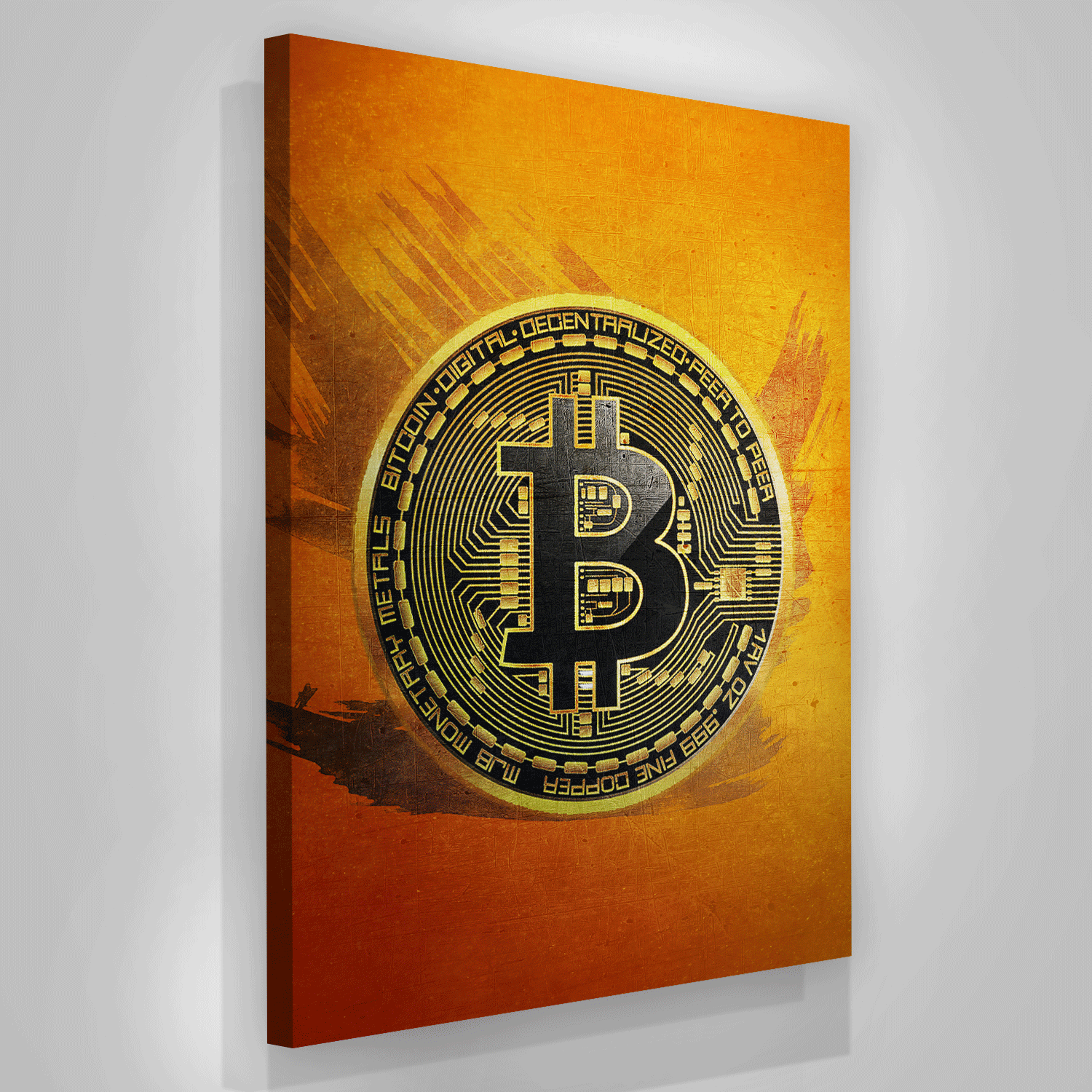 Bitcoin Coin Canvas Print Motivational Office Wall Decor Modern Art