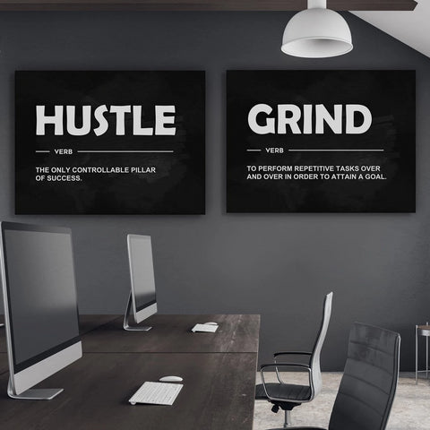2 Pieces Hustle Grind Verb's - Iceberg Of Success