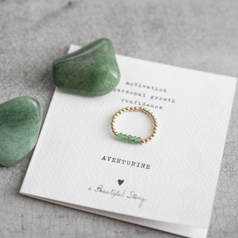 A Beautiful Story Beauty Ring - Aventurine Gold -Steen
