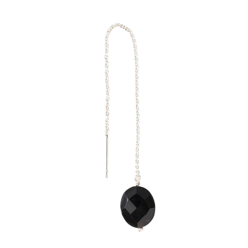 A Beautiful Story Elegant oorbel Black Onyx - Zilver