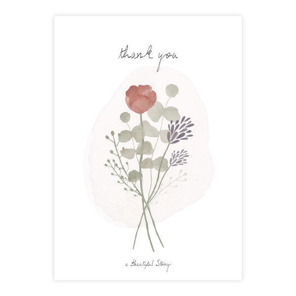 A Beautiful Story - Wenskaart + enveloppe- Thank you - Flowers