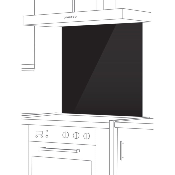 Cata Splashback Black Glass (H)700mm (W)900mm (T)5mm Kitchen Wall Protection - Image 2
