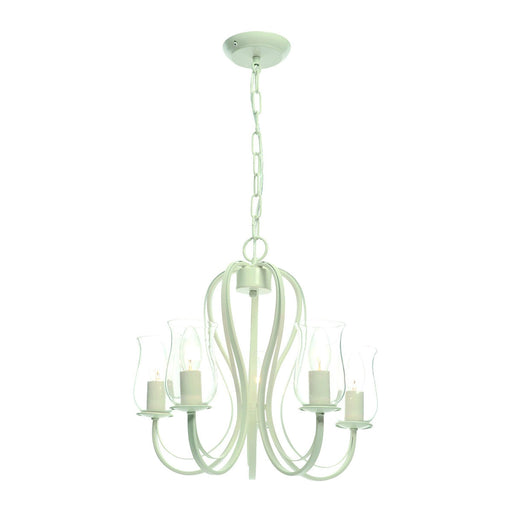 Chateau Chandelier Ceiling Light Cream Porcelain Effect 5 Lamp  Dimmable - Image 1