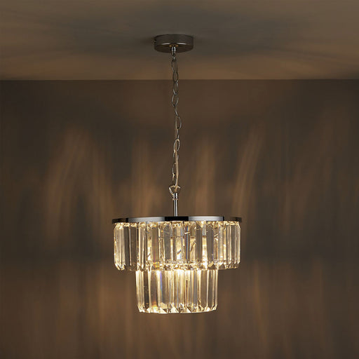 Beaufort Ceiling Light Silver effect Pendant Dimmable Stylish Chandelier - Image 1