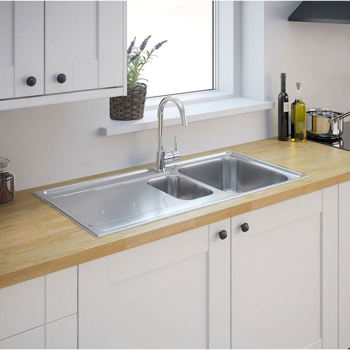Cooke & Lewis Buckland 1.5 Bowl Polished Stainless Steel Sink - Image 4