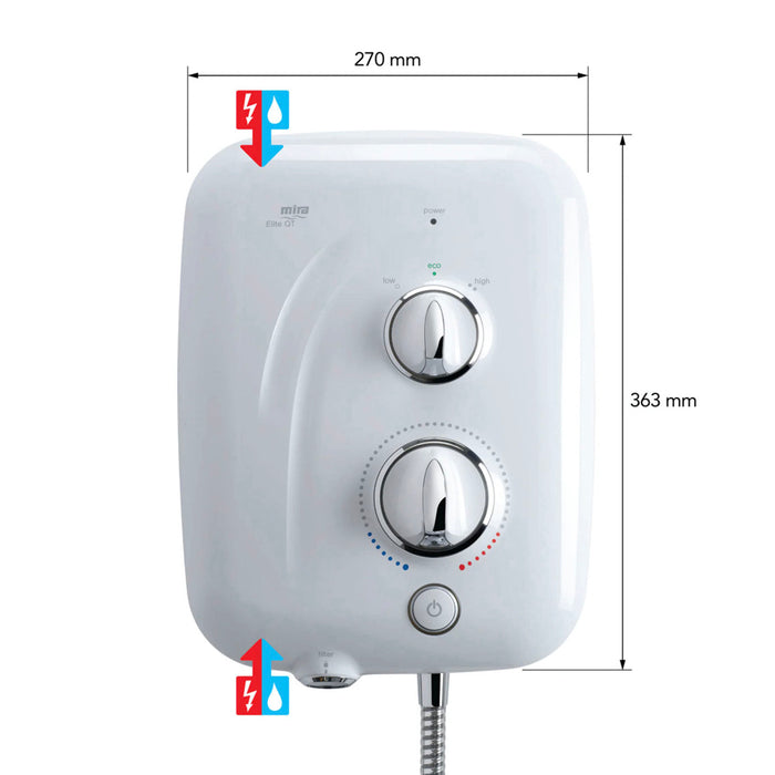 Mira Pumped Electric Shower Elite QT 230V 9.0kW With Riser Rail - Image 4