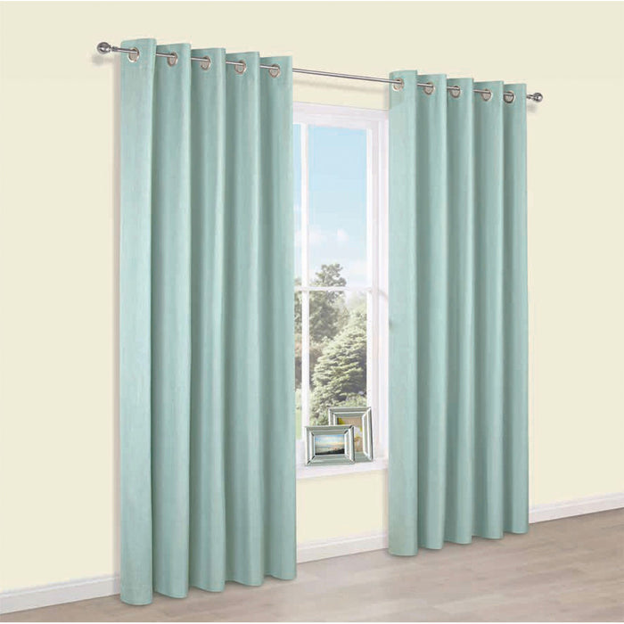 Pair Blackout Eyelet Curtains Durene Duck Egg Plain 228 x 228cm - Image 1