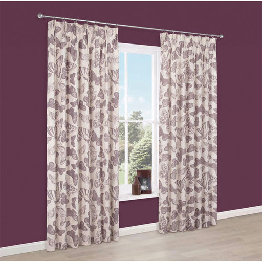 Pair Lined Pencil Pleat Curtains Dustine Cream Purple Butterfly 167 x 183cm - Image 1