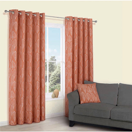 Carminda Orange Leaves Lined Eyelet Curtains (W)228cm (L)228cm, Pair - Image 1