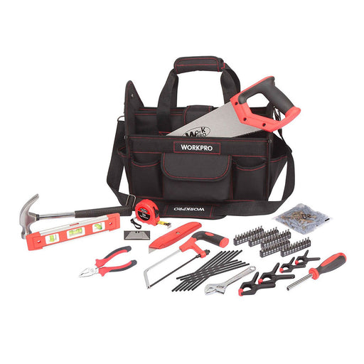 WorkPro Tool Bag with 74 piece Tool set in Black and Red - Image 1